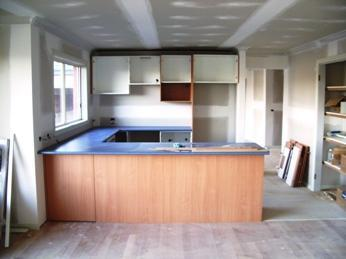 Kitchen being installed