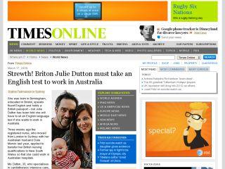 TimesOnline - Strewth! Briton must take an English test