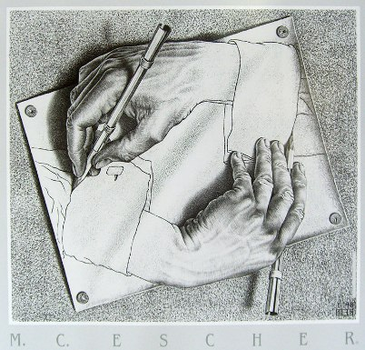 "Escher ""Drawing Hands"" 1948"