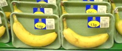 Platic Packaged Bananas - UK Supermarket